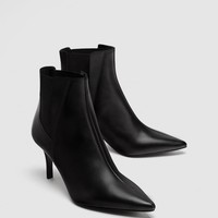 HIGH HEEL STRETCH LEATHER ANKLE BOOTS DETAILS