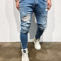 Men Jeans Stretch Skinny Pleated Hole Ripped Casual Solid Mens Denim Jeans Distressed Washed Pencil Pants High Quality