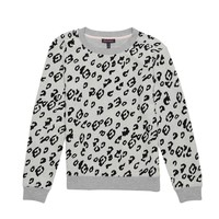 Heather Cozy Leopard Flock Sweat Top by Juicy Couture,