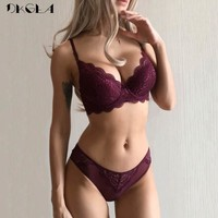 Womens Underwear Push Up Bra Panties Set Lace Embroidery Lingerie