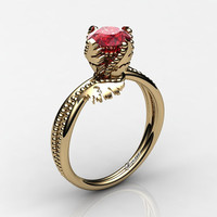 Swan 14K Yellow Gold 1.0 Ct Ruby Fairy Engagement Ring R1029-14KYGR