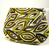 Hectic Geometric... Green, Brown and White Mini Clutch - Small Clutch