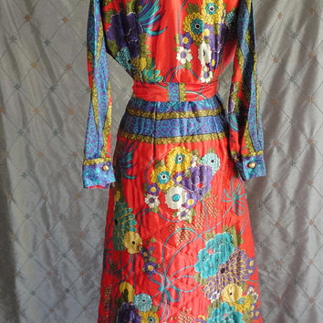 """ON SALE 60s Dress // Vintage 60's Satin Print Maxi Dress with Quilted Skirt Size M 28"""" waist by Rhapsody Chicago Ny La Hostess Gown colorful"""