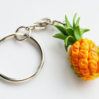 Pineapple Keyring Keychain, Fimo, Polymer Clay