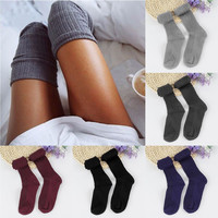 Thigh High Over Knee Slouchy Knit Crochet Stockings Women Cute Fashion Long Thigh High Over Knee Socks tights