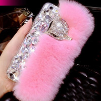 Handmade Genuine Rabbit Fur Bling Crystal Fox Rhinestone creative Case