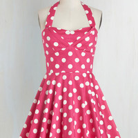 Halter Fit & Flare Traveling Cupcake Truck Dress in Pink