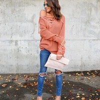 Cella Lace Up Sweater - Rust