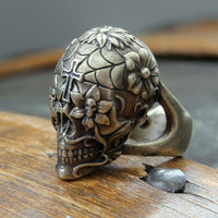 Sugar Skull Ring in Burnished Yellow Bronze Size 6 only - An Exclusive of Moon Raven Designs