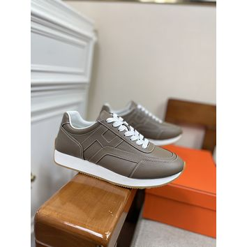 HERMES2021 Men Fashion Boots fashionable Casual leather Breathable Sneakers Running Shoes09170cx