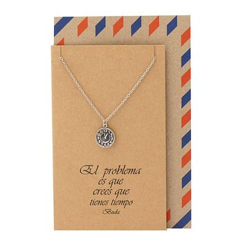 Ines Clock Necklace Inspirational Jewelry Spanish Buddha Quotes Graduation Gifts