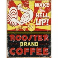 Rooster Brand Coffee Distressed Tin Sign 13 x 16in