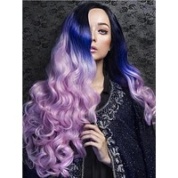Long Black Root Purple Pink Ombre Wave Synthetic Lace Front Wig