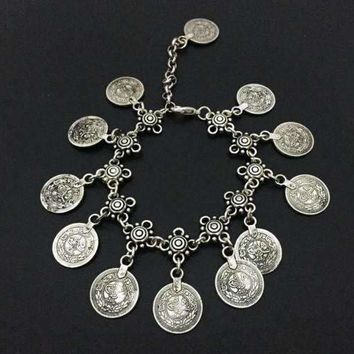 Vintage Patina Gypsy Coin Dangling Chain Ankle Bracelet For Woman