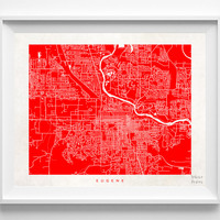 Oregon, Eugene, Print, Map, OR, Poster, State, City, Street Map, Dorm, Art, Decor, Town, Illustration, Room, Wall Art, Customize