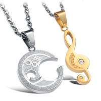 Engraved Musical Notes His and Hers Interlocking Cubic Zirconia CZ Dangling Charm Pendant Silver Titanium Necklace (Size: Single, Color: White & Gold) = 1929802052