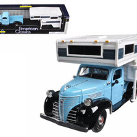 1941 Plymouth Pickup Truck Blue With Camper 1-24 Diecast Model by Motormax