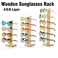 Wooden Sunglasses Eye Glasses Display Rack Stand Holder Organizer 4/5/6 Layers