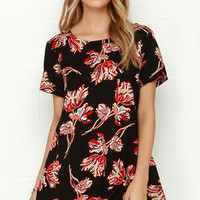 Obey Blythe Black Floral Print Dress