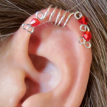 """No Piercing """"Red Peacock"""" Ear Cuff for Upper Ear 1 Cuff COLOR CHOICES"""