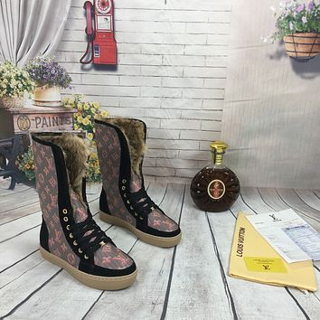 lv louis vuitton trending womens men leather side zip lace up ankle boots shoes high boots 171