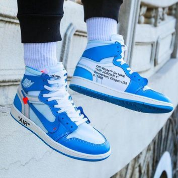 NIKE AIR JORDAN 1 & Off White Fashion New Hook Couple High Top Sports Running Contrast Color Shoes