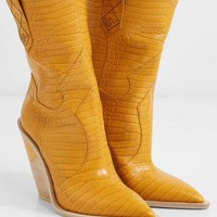 FENDI Croc-effect leather boots