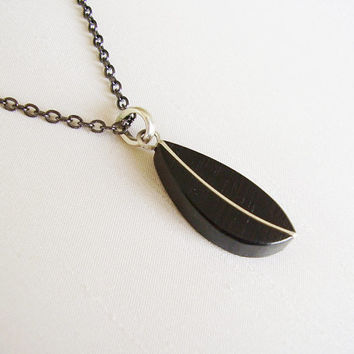 Sterling Silver and Ebony Pendant, black plated chain - Leaf shape - Simple original contemporary handmade jewelry - Silver and black