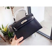 Hermes casual shopping bag popular single-shoulder bag in solid color Black