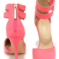 Hot in Here Hot Pink Ankle Strap Heels