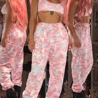 Pink Camo Pattern High Waisted Sports Work Out Casual Long Pants