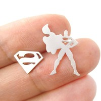 Superman Silhouette and Logo Symbol Shaped Stud Earrings in Silver | Allergy Free