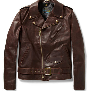 Schott Perfecto Vintage Oiled-Leather Motorcycle Jacket   MR PORTER