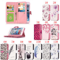 Luxury Wallet Card Stand Flip Leather Cover Printed Case And 9 Card For Apple iPhone 6s / 6 6 Plus 5S 5G 5 SE iphone 7