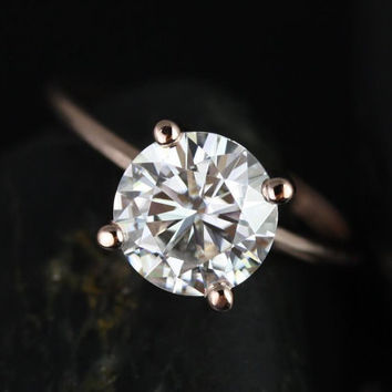 Skinny Alberta 8mm 14kt Rose Gold Round FB Moissanite Tulip Solitaire Engagement Ring (Other metals and stone options available)