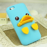Rubber Duck Soft Silicon Phone Case For iPhone 4/4S (Blue)
