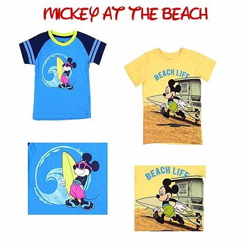 Disney Pack of 2 Toddler Mickey Mouse Beach T-Shirts. One Yellow & One Blue All About the Beach Life. Toddler Boys.