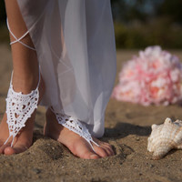 Crochet Barefoot Sandals, Nude shoes, Foot jewelry, Wedding, Victorian Lace , Steampunk, Beach Pool, Bellydance in White color