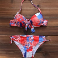 Sexy Women's Floral Printed Push up Bikini Swimsuits Two Pieces +Free Gift -Necklace