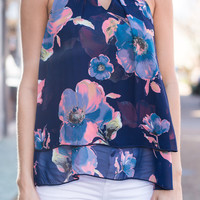 Go With The Floral Tank, Navy