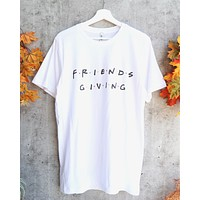 Distracted - Friendsgiving Thanksgiving Unisex Graphic Tee in White