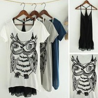 Abstract Owl Print 2 Pieces Oversize T-shirt VB3