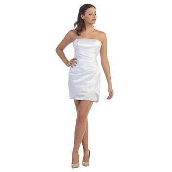 White Cocktail Dress  Party Dress Strapless Above Knee Satin