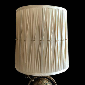 Two Mid Century Lamp Shades Pleated Fabric Large Drum Lampshade Beige Fabric 60s Hollywood Regency Home Decor Vintage Lighting