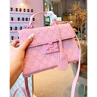 Gucci Double G Ceramic Hardware Bag Embossed Gucci Woc Premium Hot Pressed Chain Bag Pink
