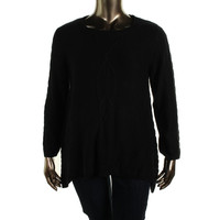 Style & Co. Womens Cable Knit Sharkbite Hem Pullover Sweater