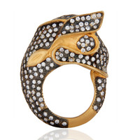 Lucky Elephant Design 18k Gold Plated White Cubic Zirconia Fashion Ring Jewelry