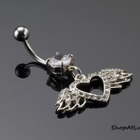 Pave Heart With Wings Belly Button Navel Ring in Surgical Stainless Steel