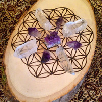 Crystal Grid Wood Burned Crystal Grid Flower of Life Gift for Her Sacred Geometry Grid Wood Slice Raw Crystal Healing Crystals and Stones