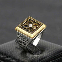 New Hot Vintage Retro Handmade Womens Mens Cross Gold Patchwork Silver Ring Womens Vampire Ring Lady Fashion Casual Jewelry Unique Best Gift Fashion Accessories Drop Shipping Girl Rings-51